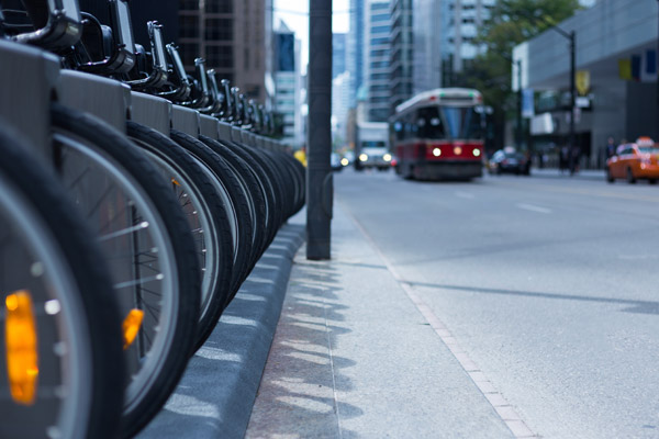 A row of bikes on a Toronto street